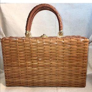 Vintage 70s Straw Twistlock Suitcase Handbag